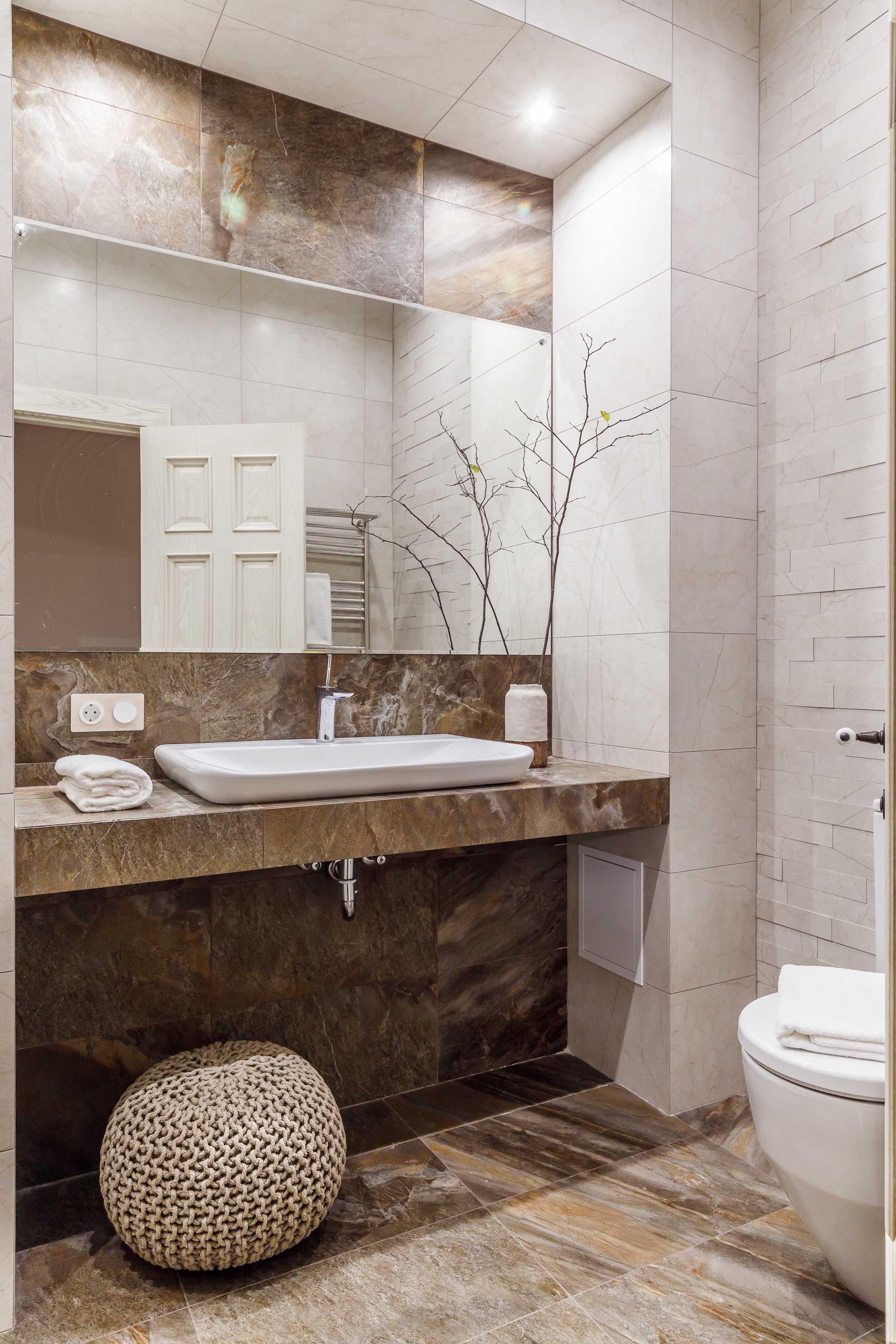 коричневый керамогранит под камень плитка для ванной